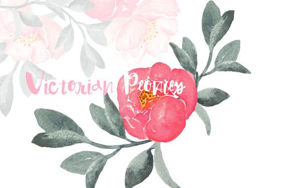 Peonies Victorian Watercolor Clip Ar