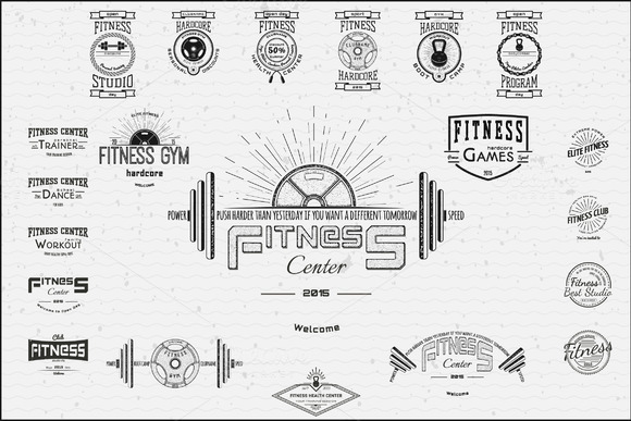 Fitness Vector Set Badges And Logos