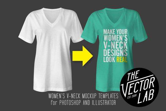 Women S V-Neck Mockup Templates