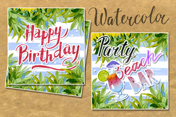 Set Vintage Watercolor Cards