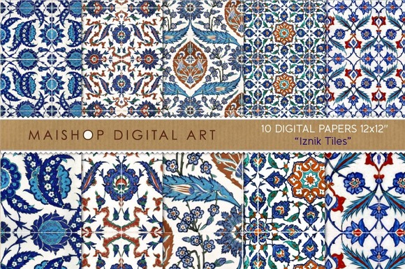 Digital Paper Iznik Tiles
