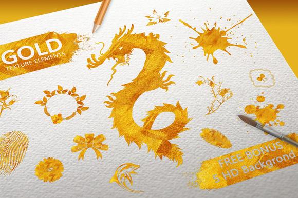 Gold Texture Elements