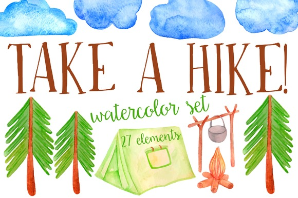 Watercolor Hike Set