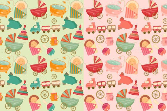Baby Shower Seamless Backgrounds Set