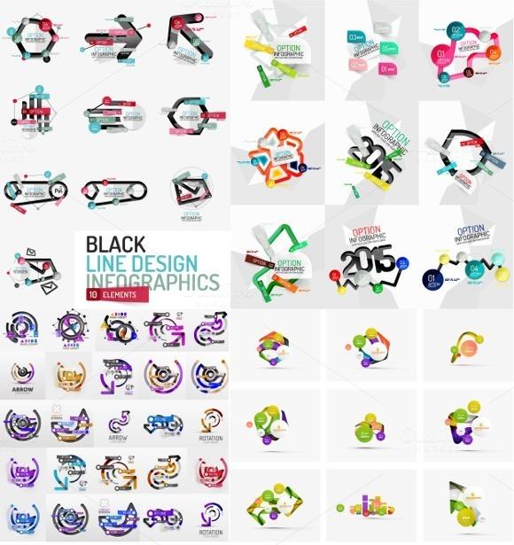 Mega Set Of Line Design Infographics