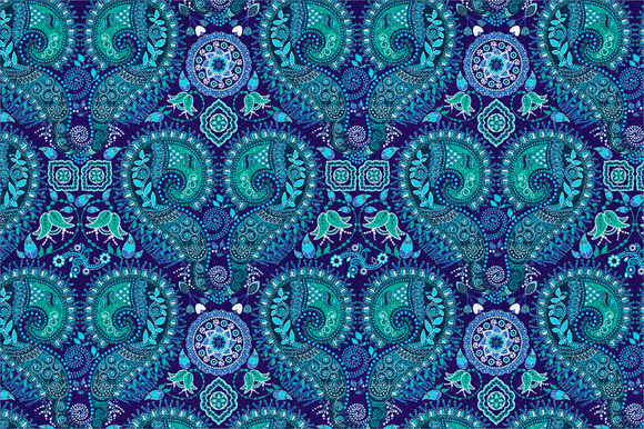 Blue Ornamental Seamless Pattern