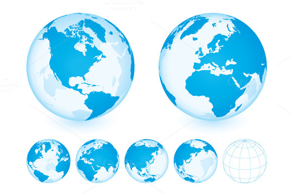 Globe Set Transparent Blue
