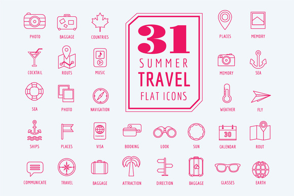 Travel Vector Icons Set Summer Sea