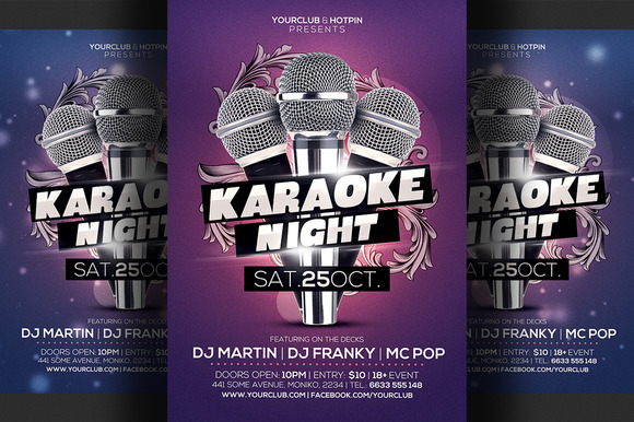 Karaoke Night Flyer Template 3