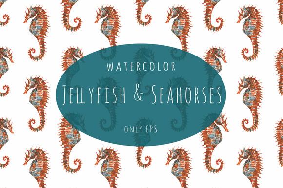Watercolor Jellyfish Sea Horse