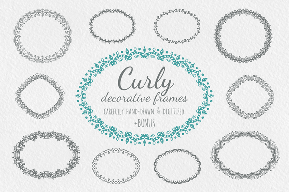 Curly Hand Drawn Decorative Frames