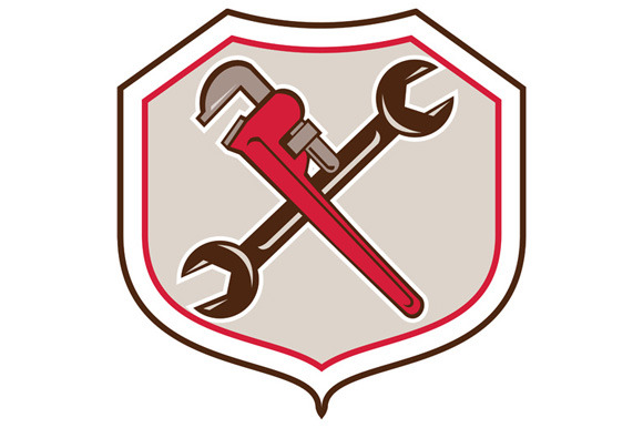 Pipe Wrench Spanner Crossed Shield C