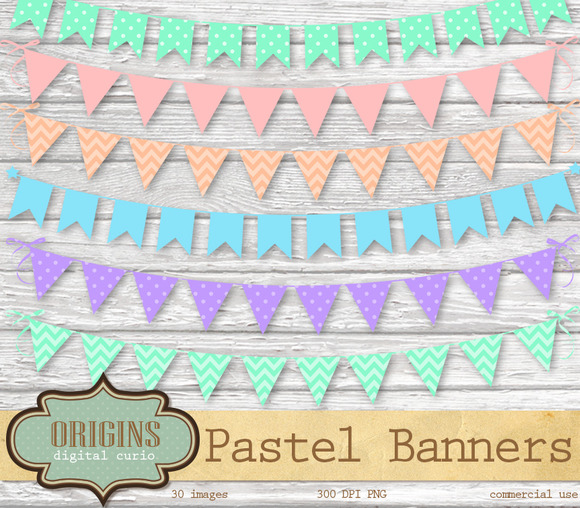 Pastel Bunting Banner Clipart