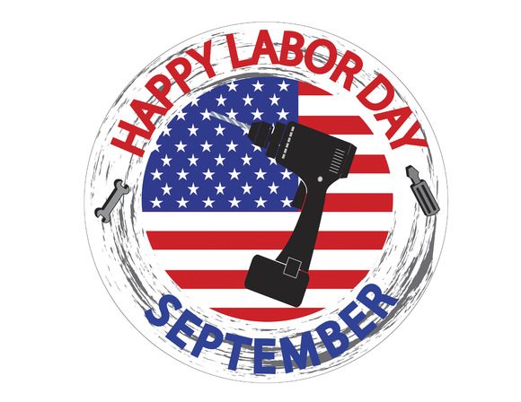Labor Day Logo With USA Flag