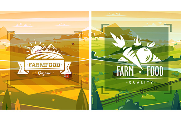 Farm Food Typography Design Vector