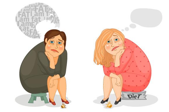 Sad Fat Woman Sitting On A Diet