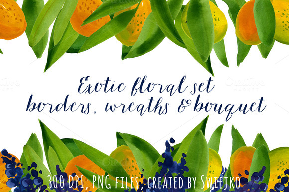 Watercolor Exotic Wreaths Borders