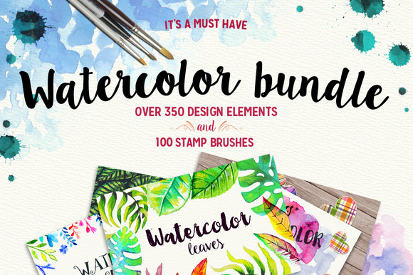350 Watercolor Elements And Brushes