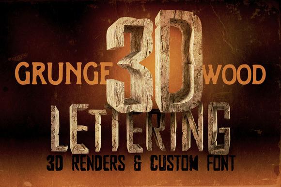 Grunge Wood 3D Lettering Font