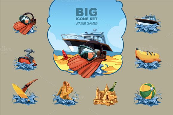 Water Games Big Icon Set