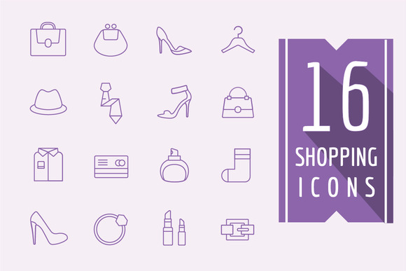 Shopping Vector Icons Set Fashion