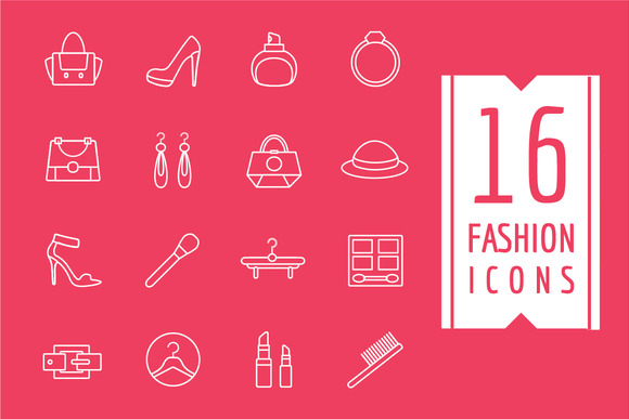 Womens Clothes Vector Icons Set