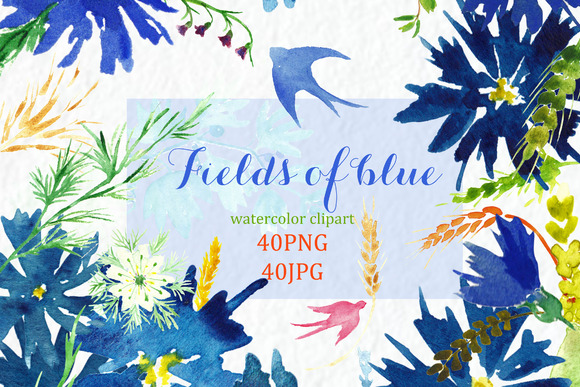 Fields Of Blue Watercolor Clipart