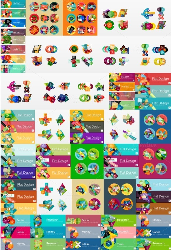 Mega Set Of Flat Infographic Banners