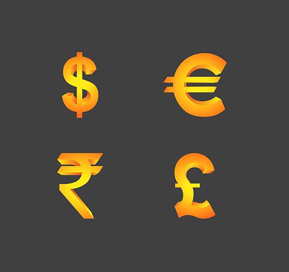 Vector Currency Symbols In 3d