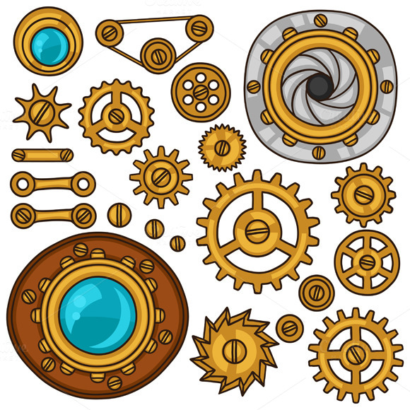 Set Of Steampunk Gears