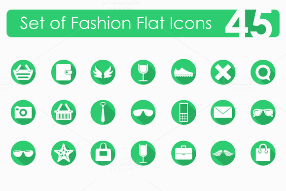45 Fashion Flat Icons