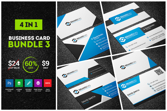 4 Blue Business Cards Bundle 3