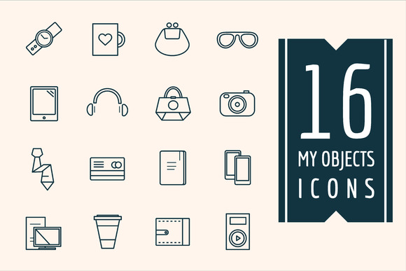 Personal Objects Vector Icons Set