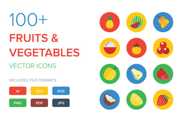 100 Fruit And Vegetable Vector Icon
