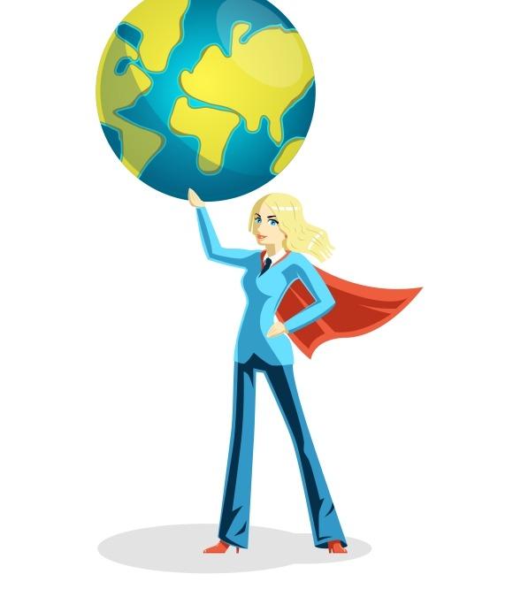 Business Woman Holding World Globe