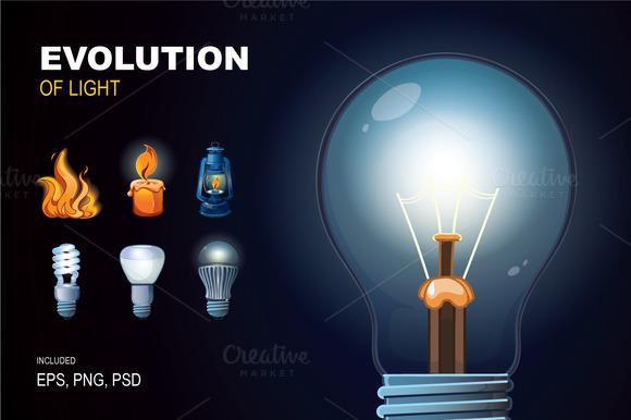 Evolution Of Light Icon Set
