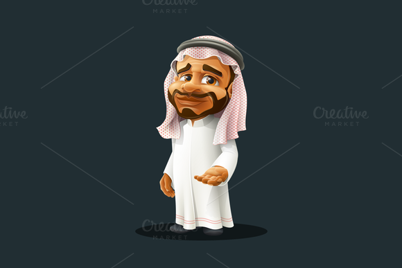 Arabian Man Cartoon Character