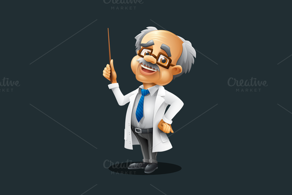 Professor Vector Cartoon Character