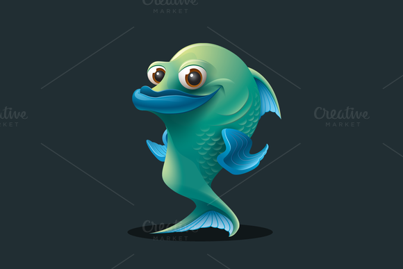 Fish Vector Cartoon Character