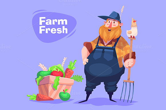Funny Farmer Character Vector