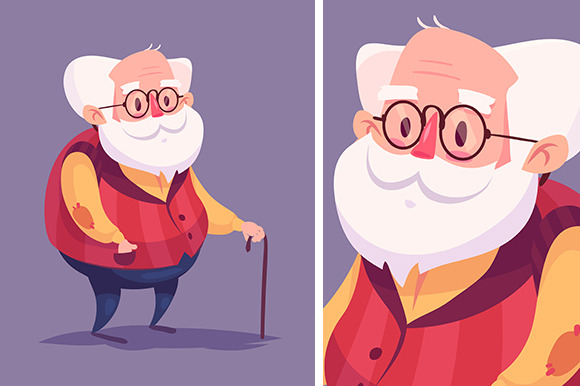 Funny Old Man Character Vector