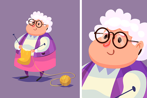 Funny Old Woman Character Isolated