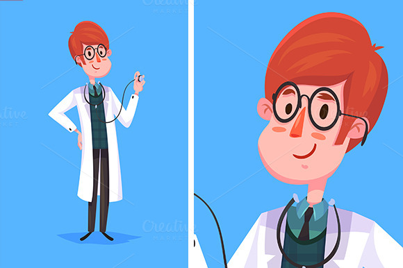 Funny Doctor Character Vector