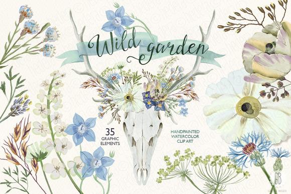 Watercolor Wild Garden Deer Antlers