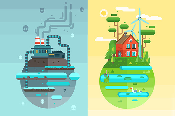Vector Ecology Flat Design Concept