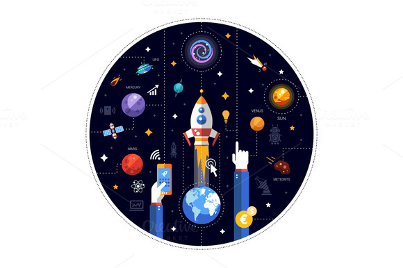 Space Flat Design Illustration