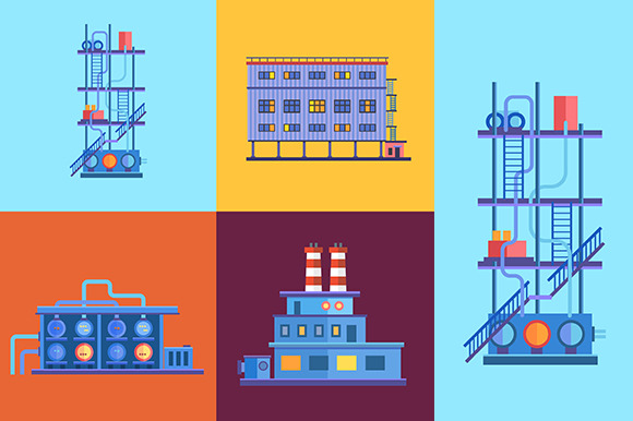 Vector Industrial Factory Buildings