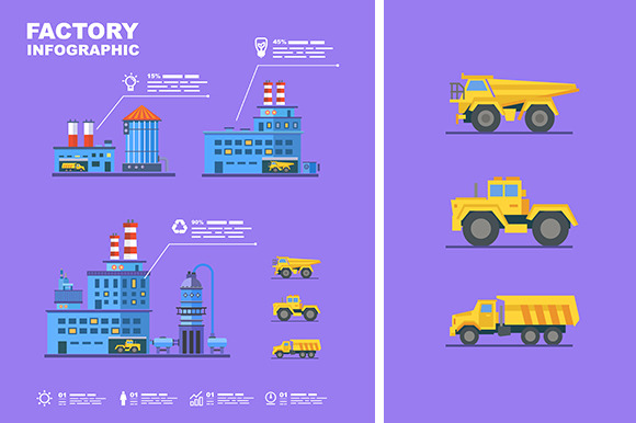 Factory Set Flat Infographic