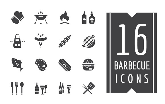 BBQ And Food Icons Vector Set