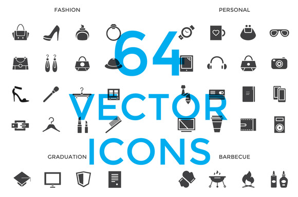 64 Vector Objects Icons Set